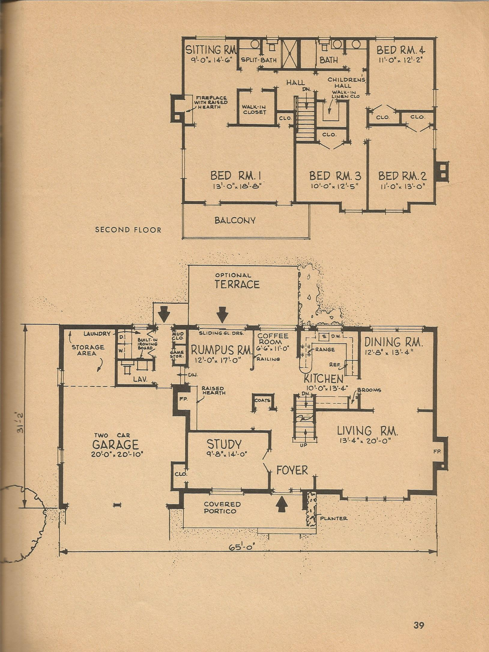 Vintage house plans 8606a antique alter ego for Vintage floor plans