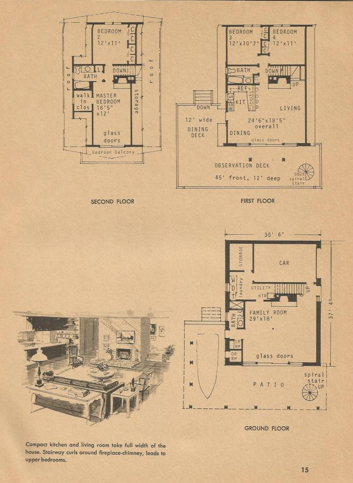 Vintage House Plans, Mid Century Homes,