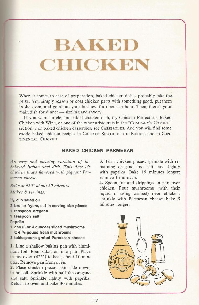 1960s chicken recipes, vintage recipes, baked chicken