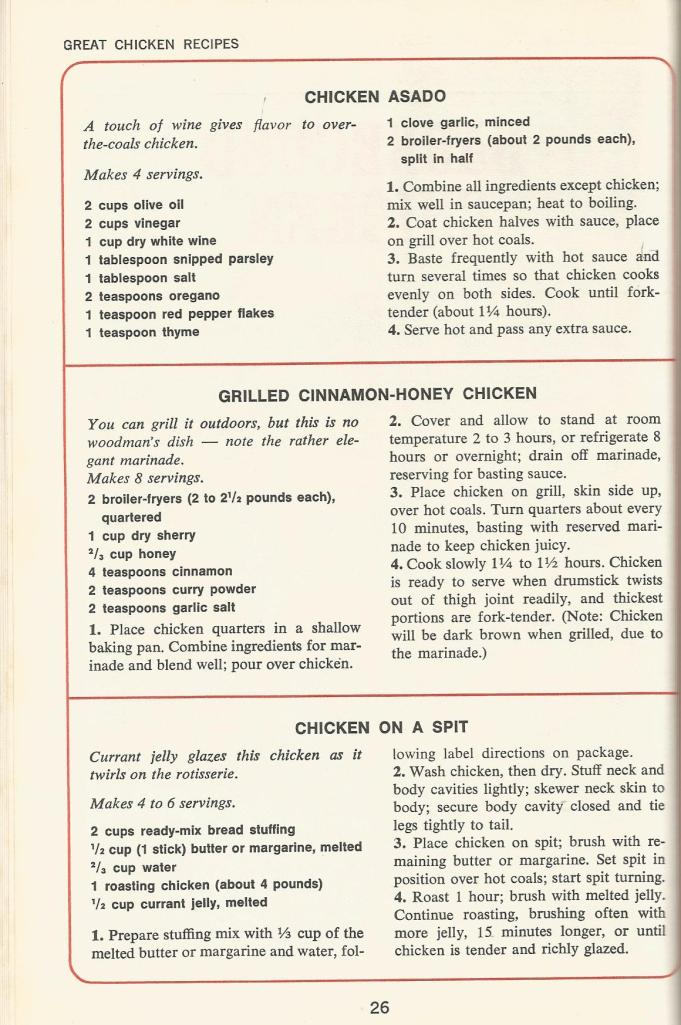 Vintage Recipes, BBQ Chicken recipes, BBQ chicken