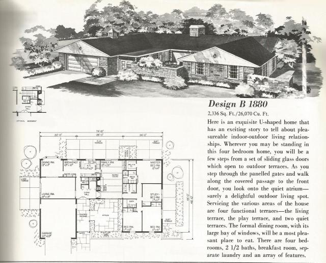 Vintage house plans u shaped homes over 2000 square feet for Antique house plans