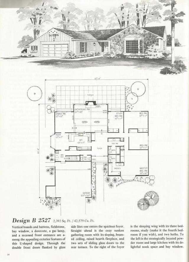 Vintage House Plans U Shaped Homes Over 2000 Square Feet