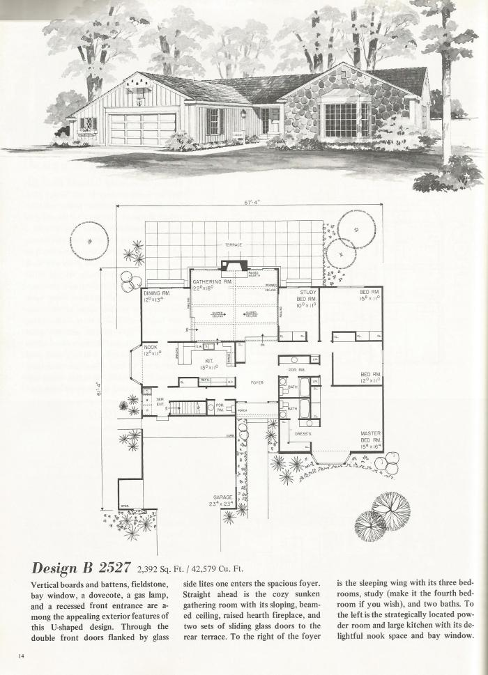 Vintage house plans u shaped homes over 2000 square feet for Rectangle shaped house plans