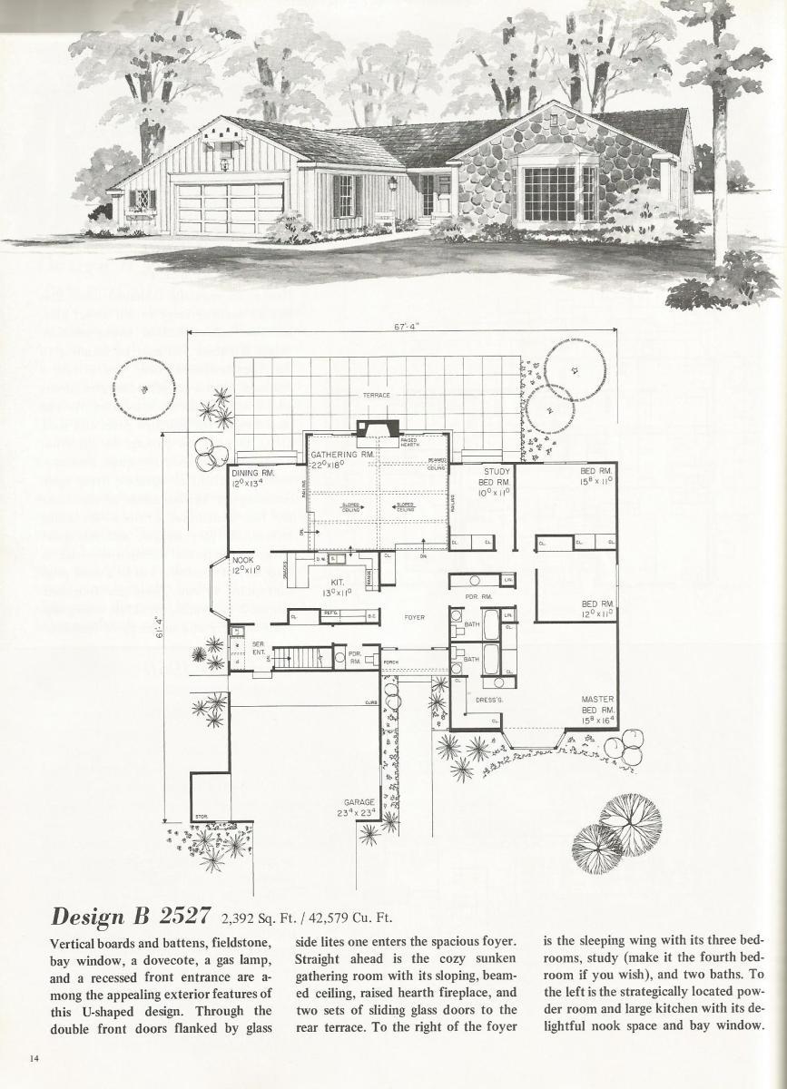 Vintage House Plans, mid century homes, U shaped houses