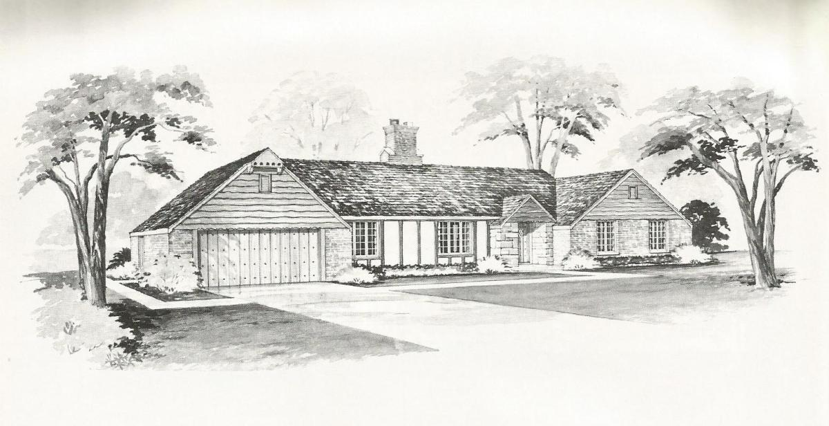 vintage house plans, large mid century homes,