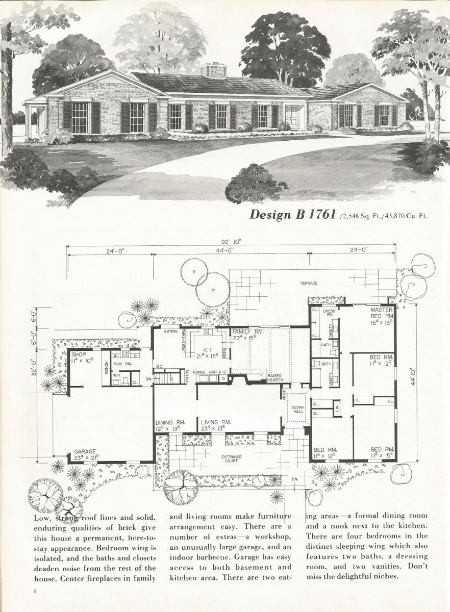 Vintage house plans b1761 antique alter ego for Retro house design