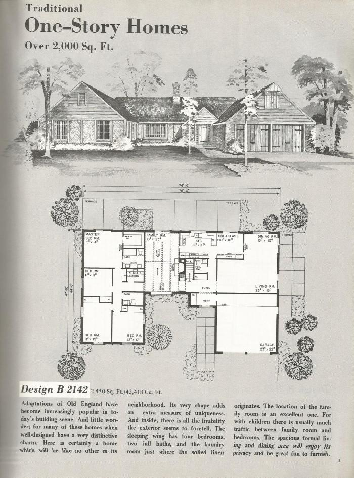 vintage house plans, large mid century homes