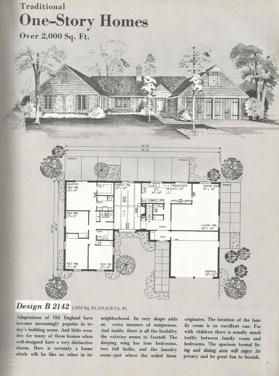vintage house plans, large mid century homes