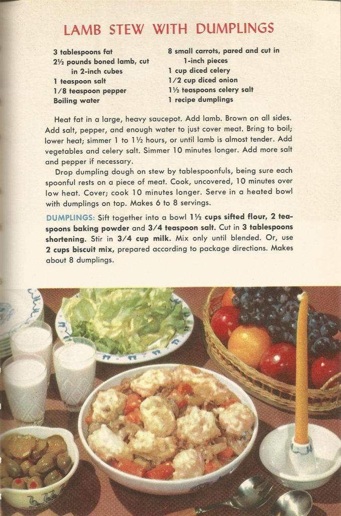 vintage meat recipes, pork, lamb
