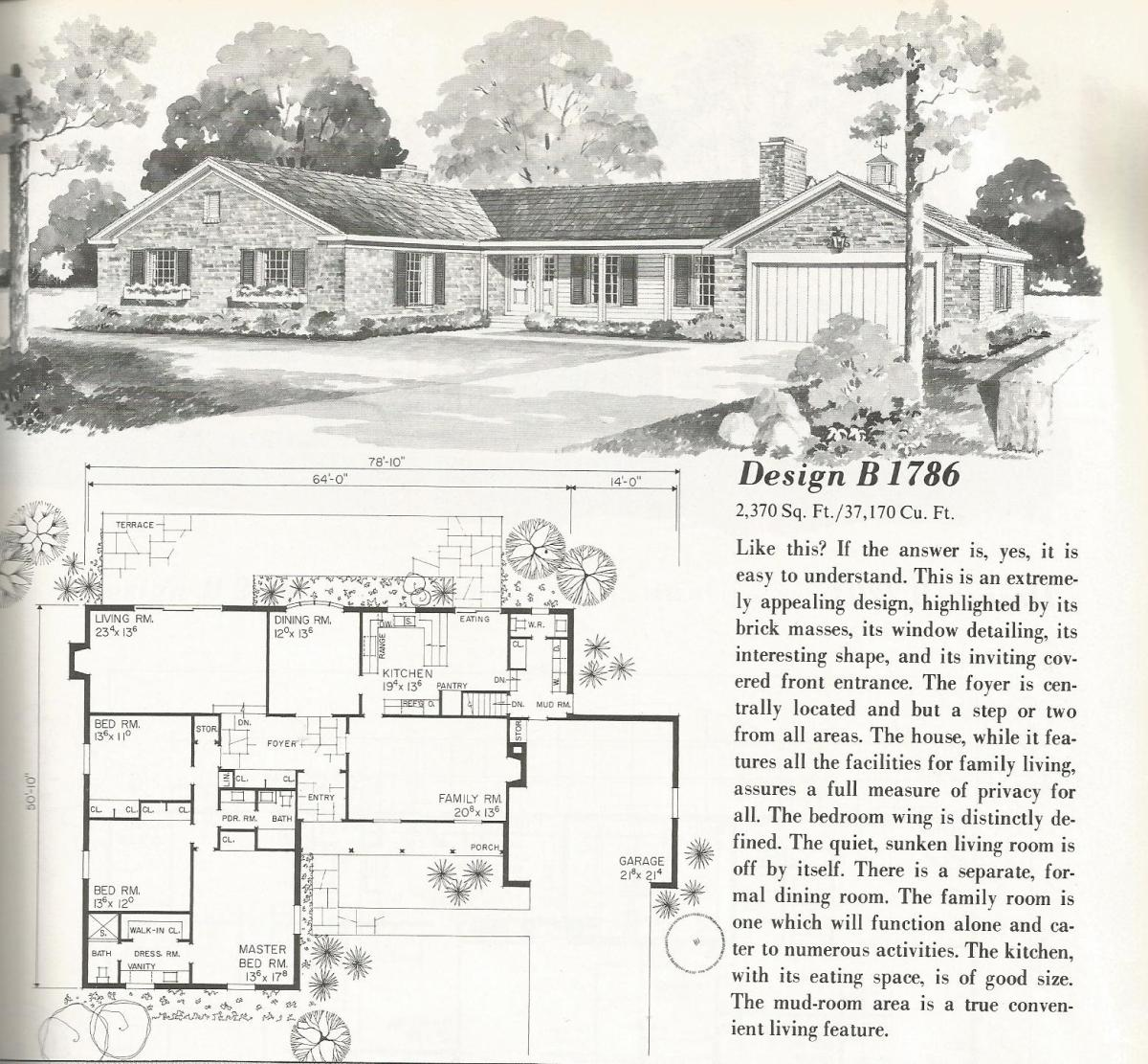 Vintage House Plans, mid century homes, homes over 2000 sq feet