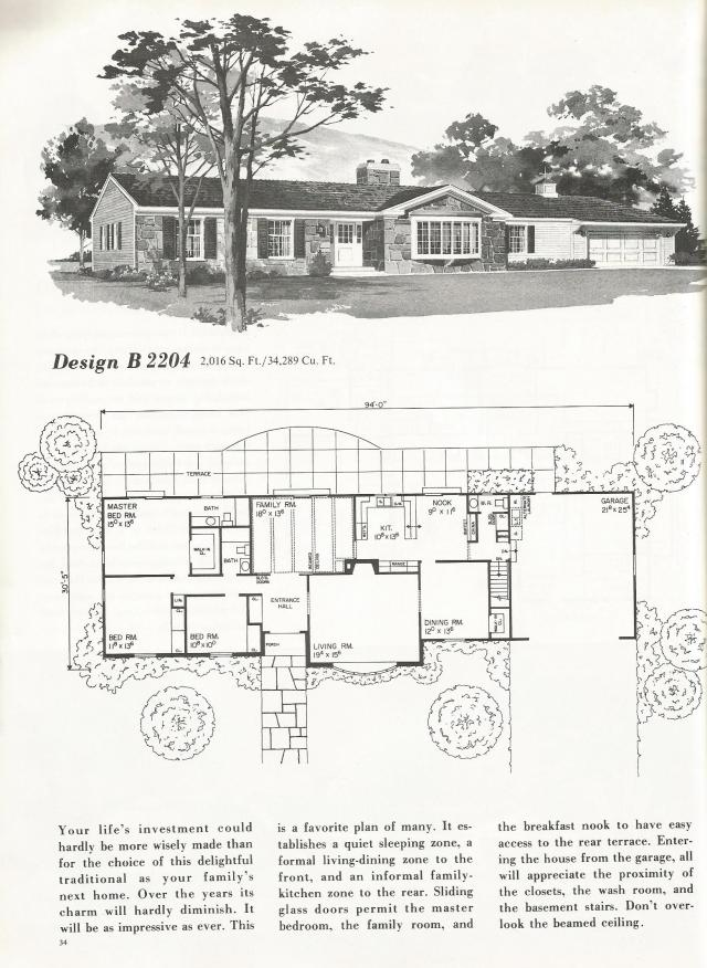 Vintage House Plans One Story Homes Over 2000 Square Feet