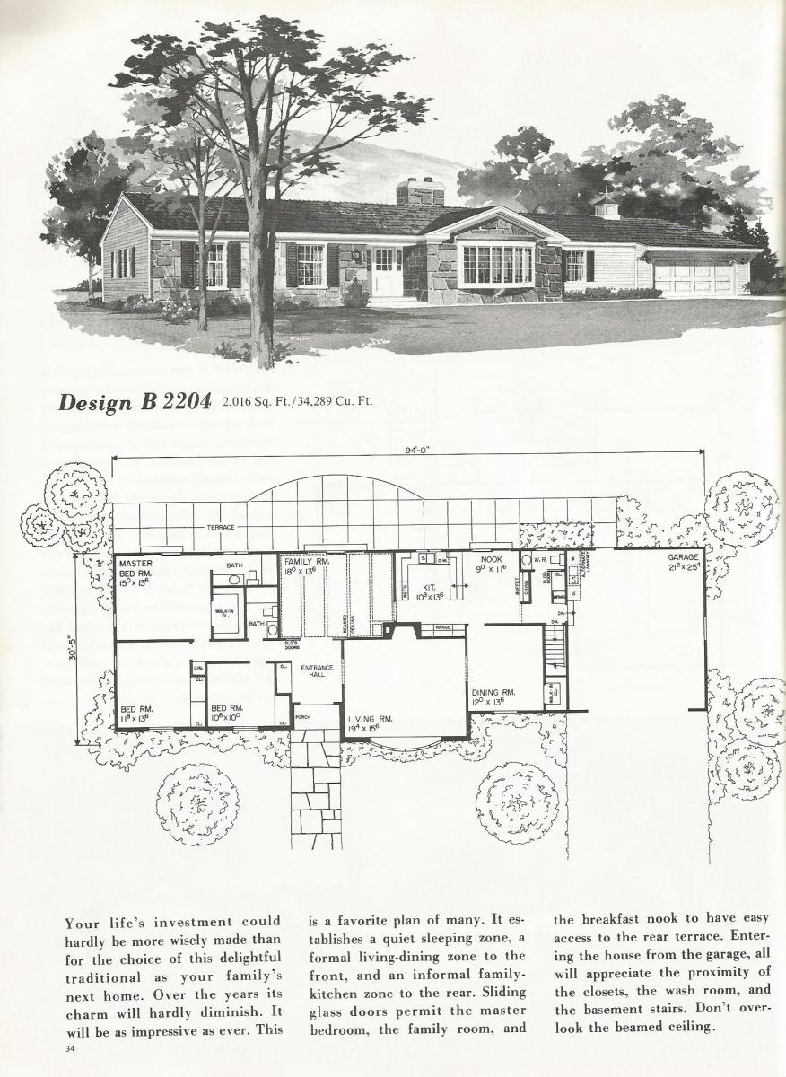Vintage house plans 2204 for 2000 square foot house plans one story