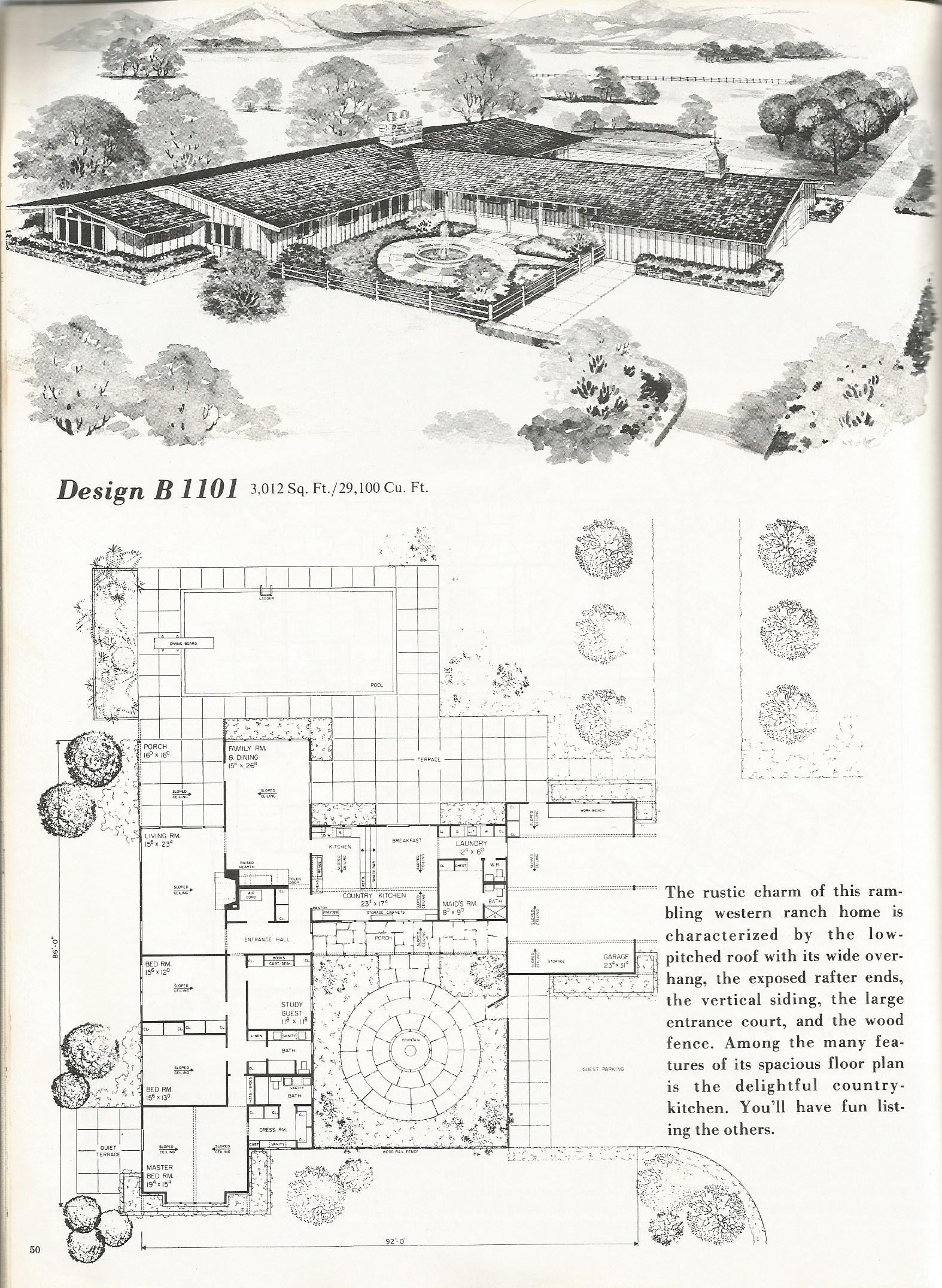 Vintage House Plans Western Ranch Style Homes Antique