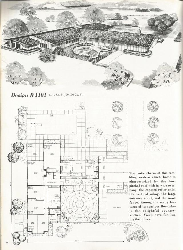 Vintage house plans western ranch style homes antique for Western floor plans
