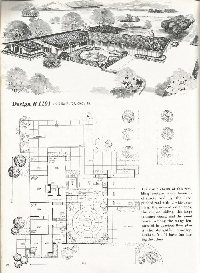 Vintage house plans western ranch style homes antique for Vintage floor plans