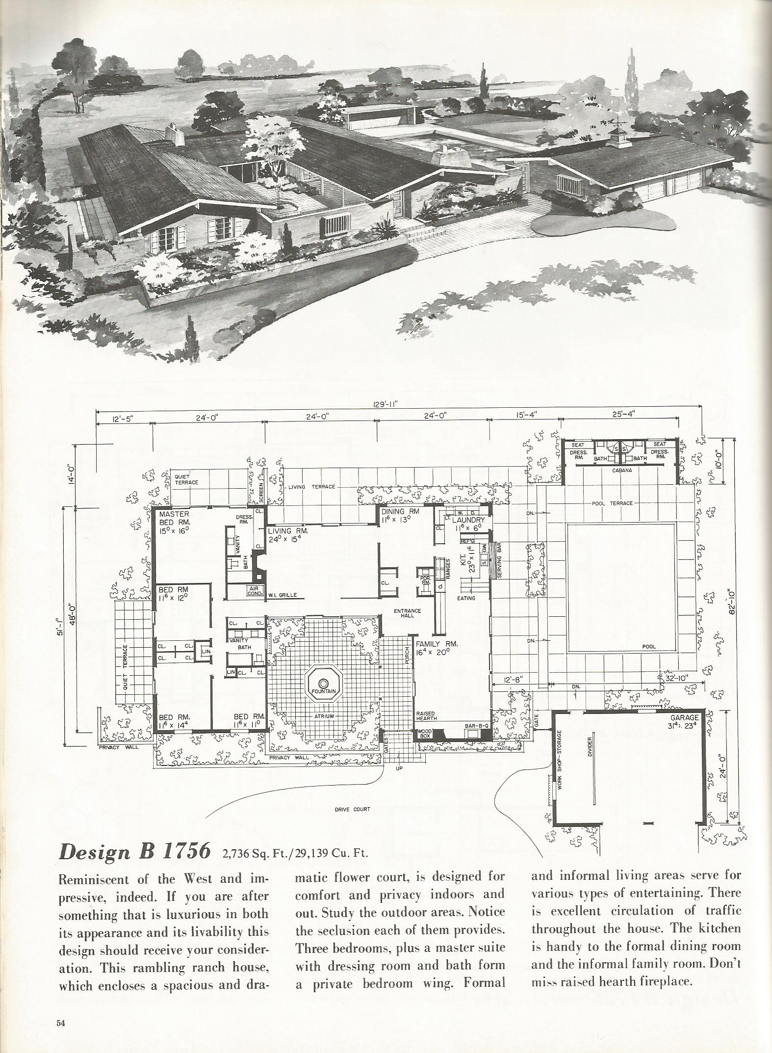 Vintage house plans 1756 antique alter ego for Western ranch style house plans
