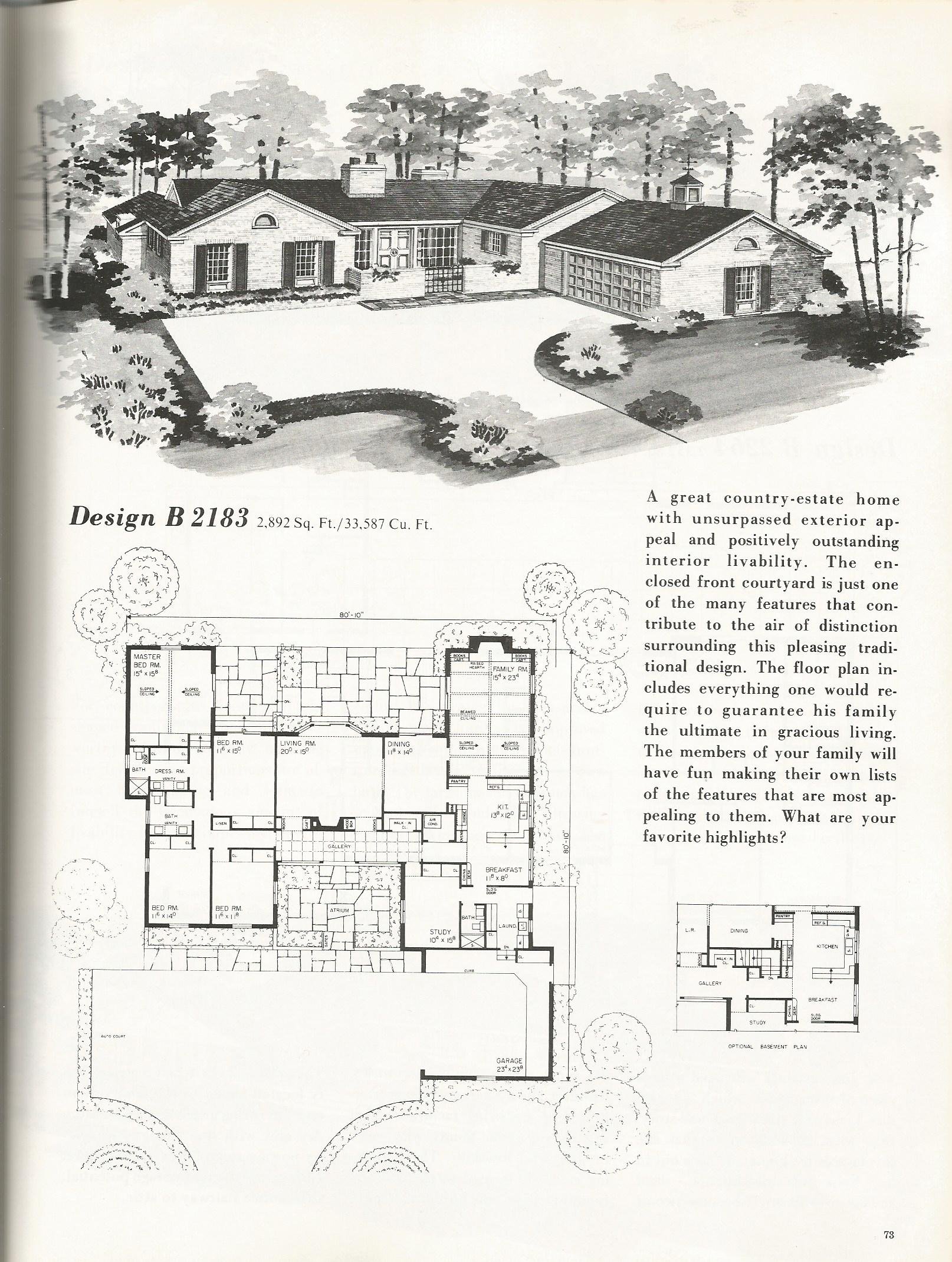 Vintage house plans 2183 antique alter ego for Vintage home floor plans