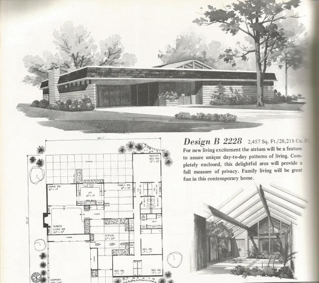 Vintage house plans luxurious one story homes antique for Mid century home plans