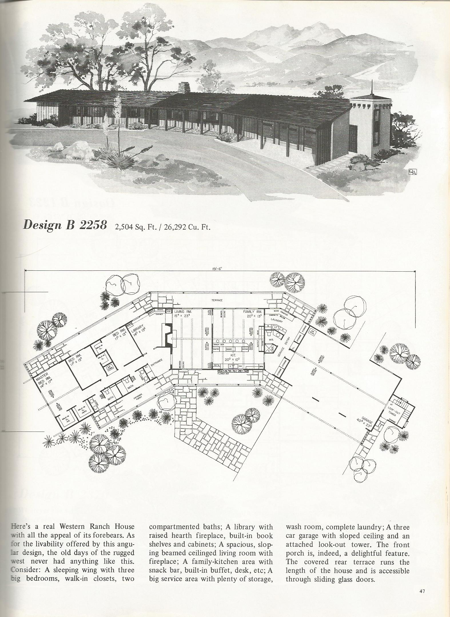 Vintage house plans 2258 for Western floor plans