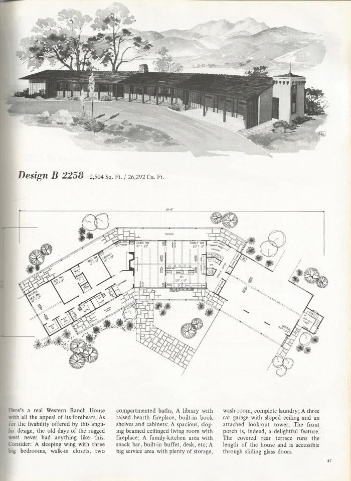 vintage house plans, western ranch houses