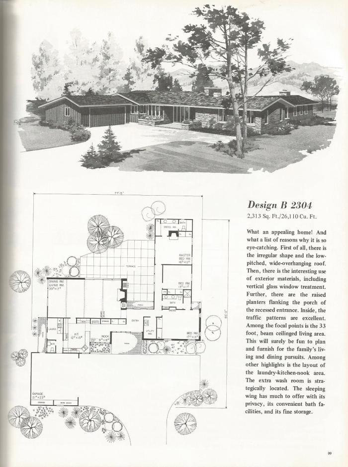 Vintage House Plans, Mid Century Homes, large homes