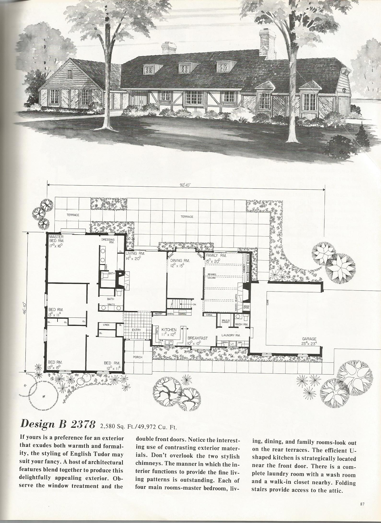 Vintage house plans 2378 antique alter ego for Classic tudor house plans