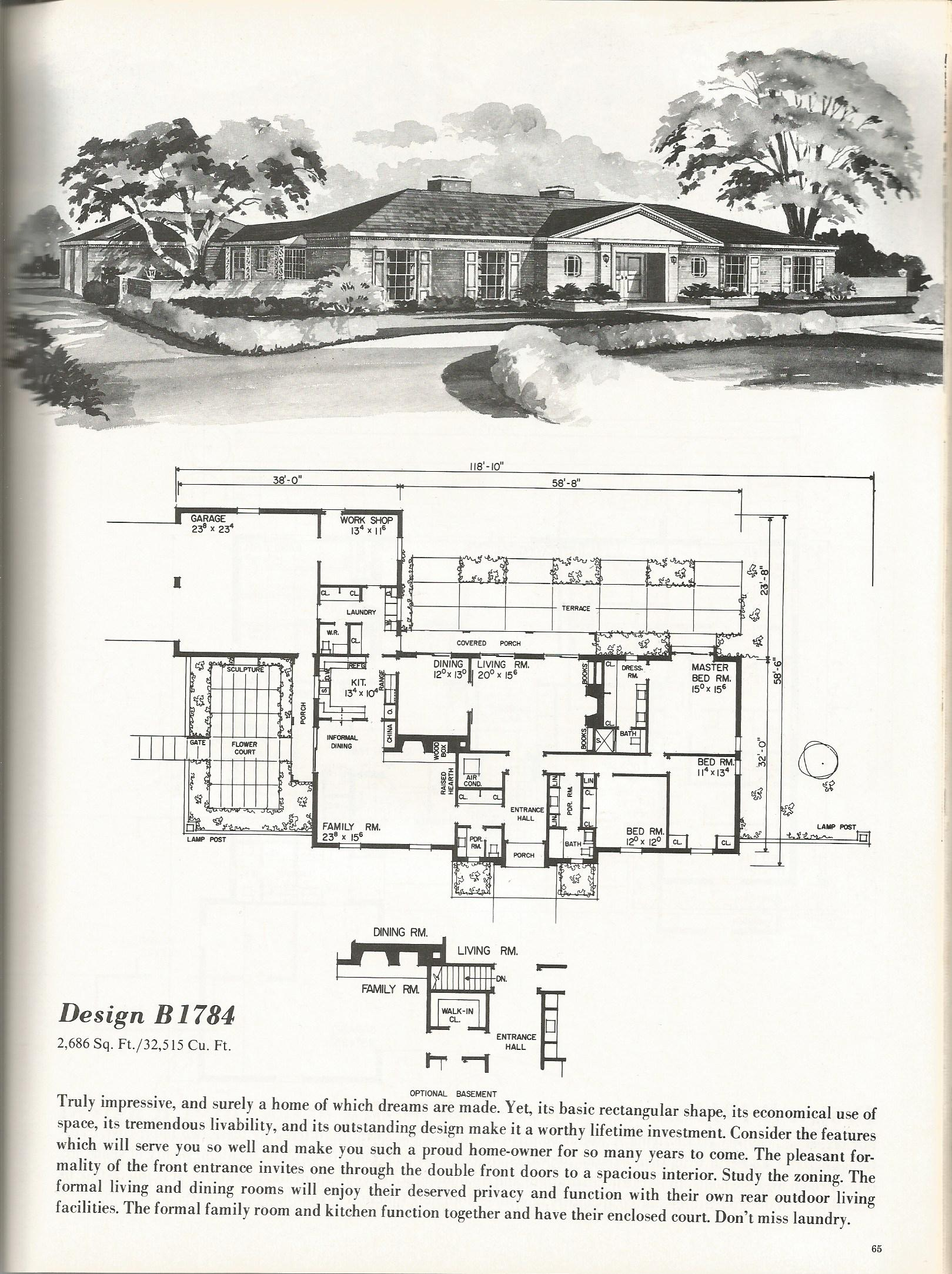 Vintage house plans luxurious homes 1784 antique alter ego for Vintage floor plans