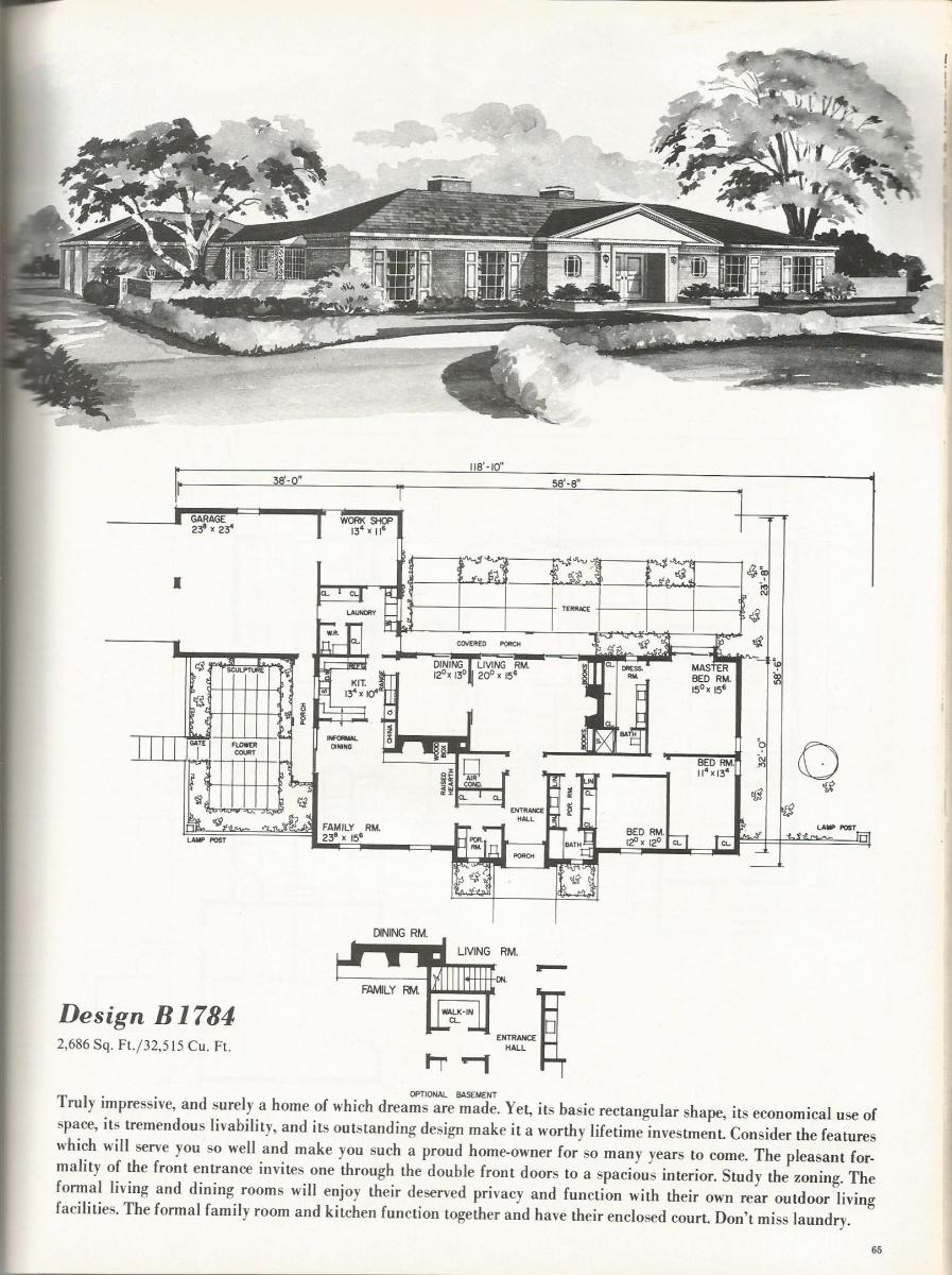 Vintage house plans, mid century homes, luxurious vintage home plans