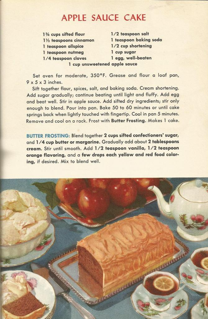 Vintage Recipes, 1950s Cakes, Apple Sauce Cake