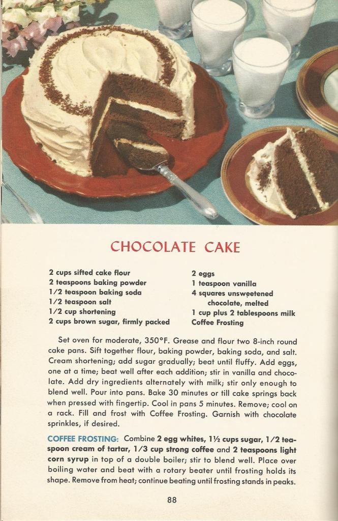 Vintage Recipes, 1950s Cakes, Chocolate Cake