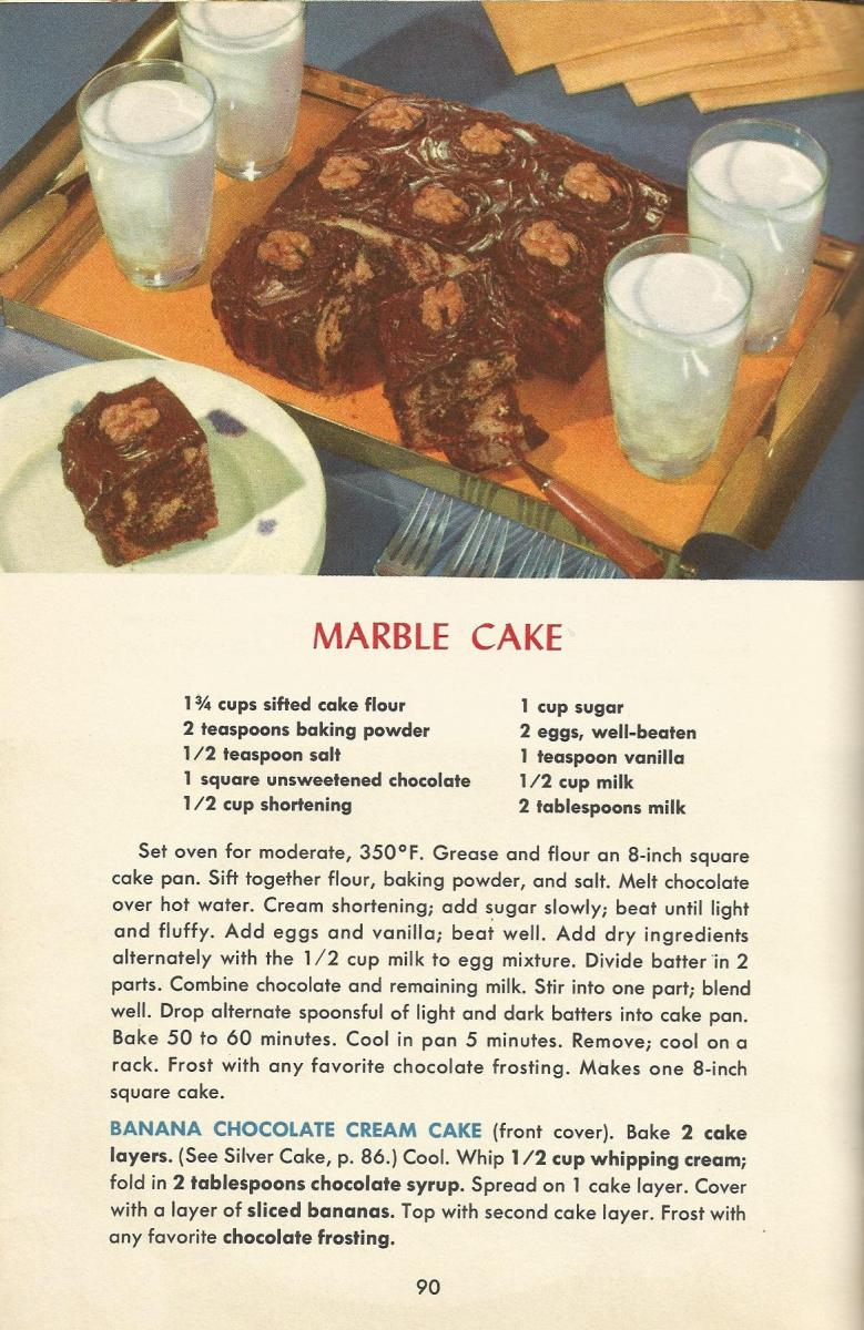 Vintage Recipes, 1950s Cakes. Marble Cake
