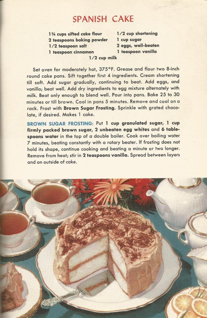 Vintage Recipes, 1950s Cakes, Spanish Cake