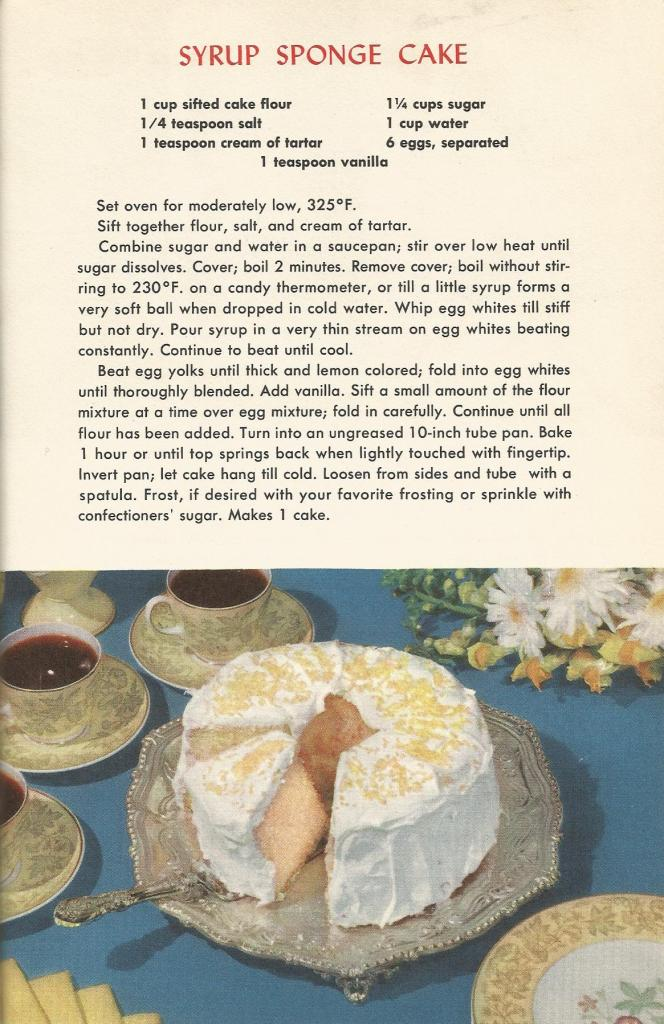 Vintage Recipes, 1950s Cakes, Syrup Sponge Cake