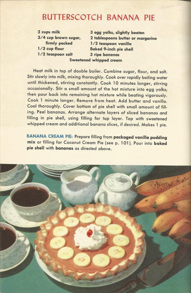Butterscotch Banana Pie, Vintage Pie Recipes, 1950s Pie Recipes