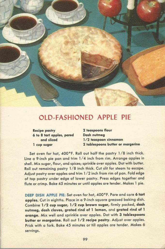 Vintage Recipes with Old-Fashioned Apple Pie Retro Recipe Card