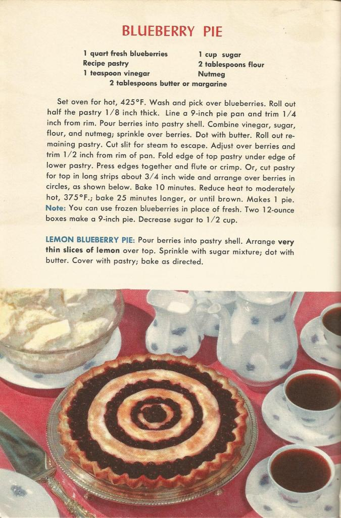 Blueberry Pie, Vintage Pie Recipes, 1950s Pie Recipes