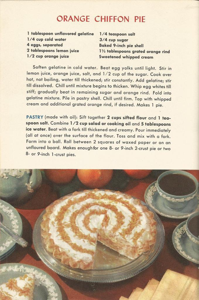 Orange Chiffon Pie, Vintage Pie Recipes, 1950s Pie Recipes