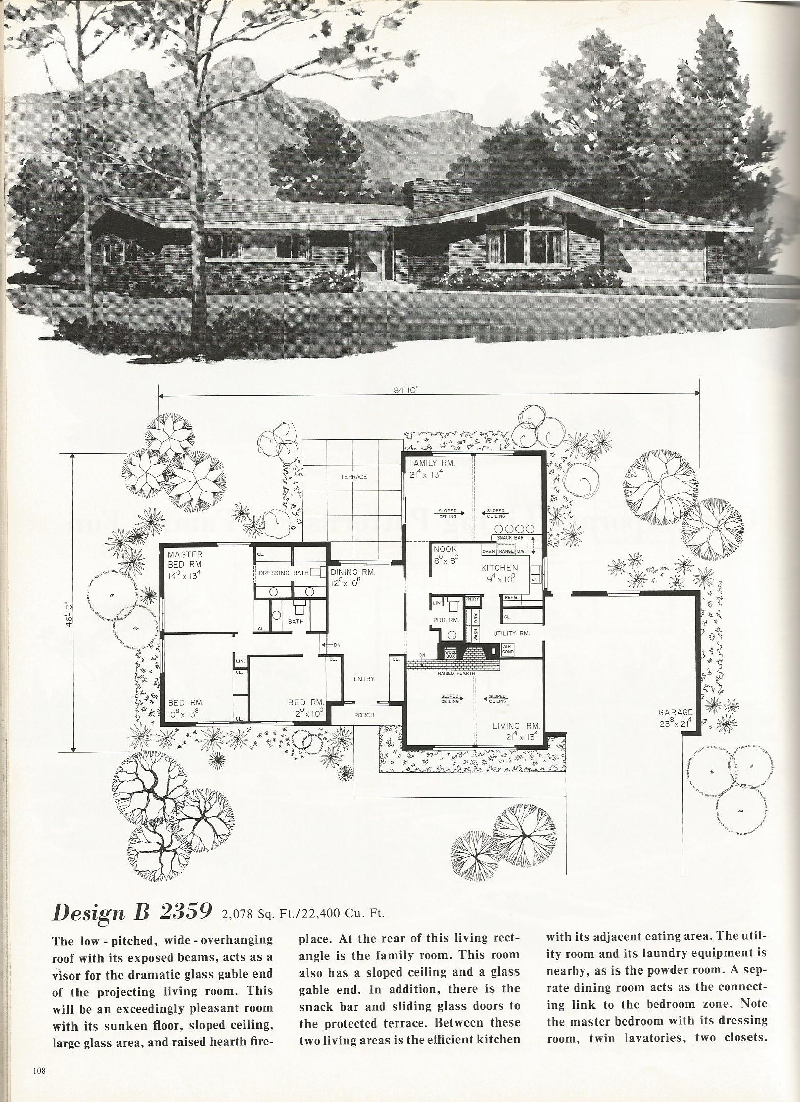 Vintage house plans 2359 antique alter ego for Retro modern house plans