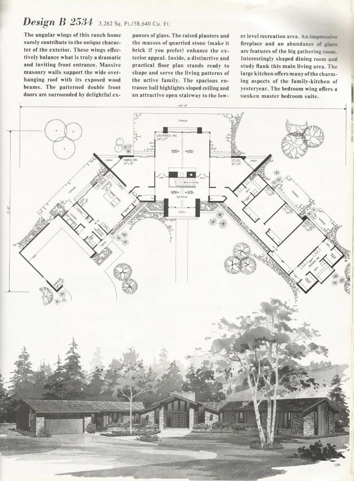 Vintage House Plans, 2000 square feet,  mid century homes