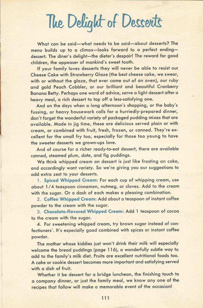 Vintage Recipes, 1950s Dessert Recipes