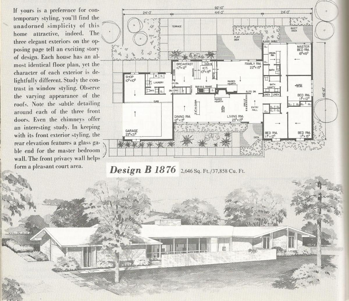 Vintage House Plans, Vintage Homes, Mid Century Homes