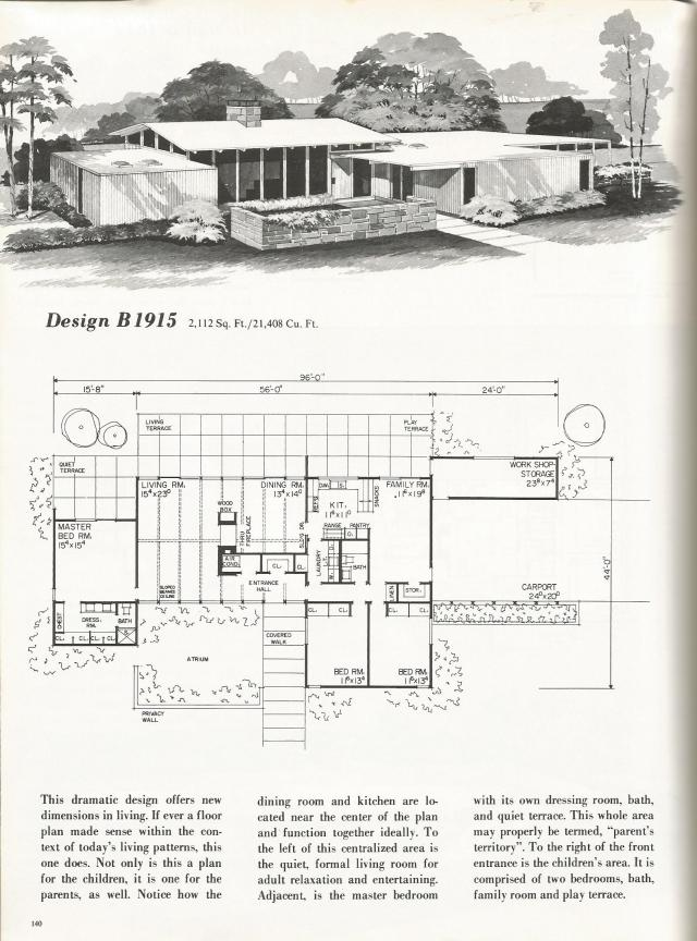 Vintage House Plans Mid Century Contemporary Antique