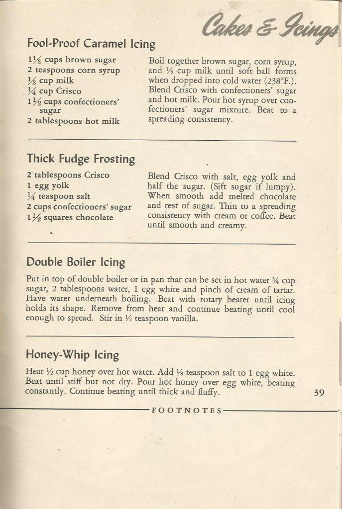 Vintage Recipes, 1940s Cakes and Icing