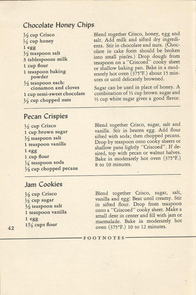 Vintage Recipes, 1940s Cookies