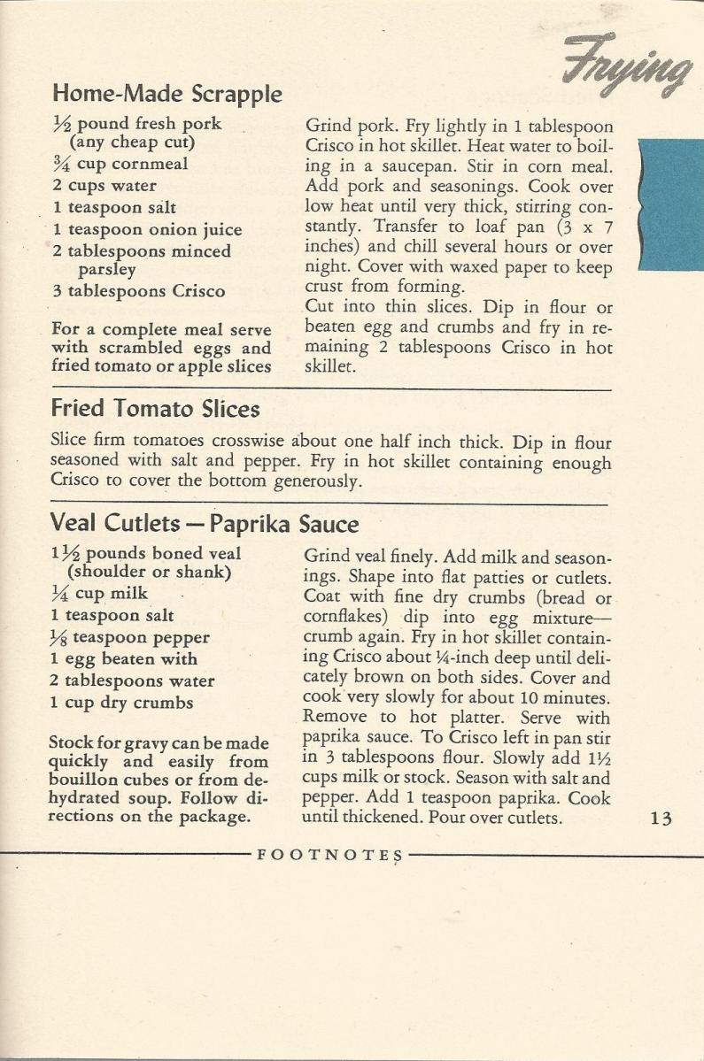 Vintage Recipes, 1940s, Fried Foods