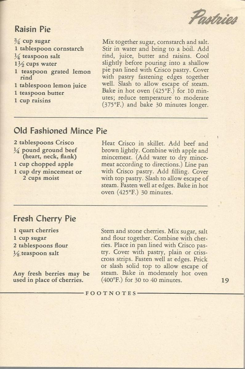 Vintage Recipes: 1945 Crisco Cookbook - Pastries