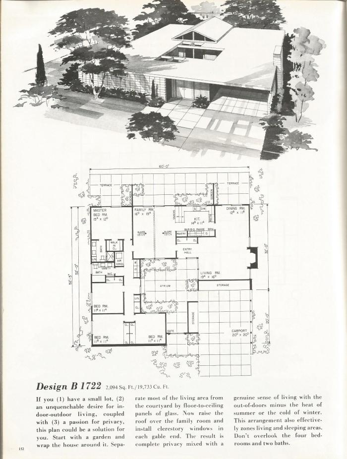 Vintage House Plans: Dramatic Mid Century Contemporary