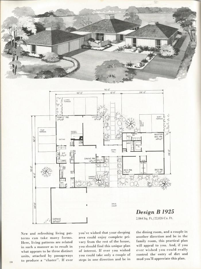 Vintage House Plans, Mid Century Homes, 1960s Homes