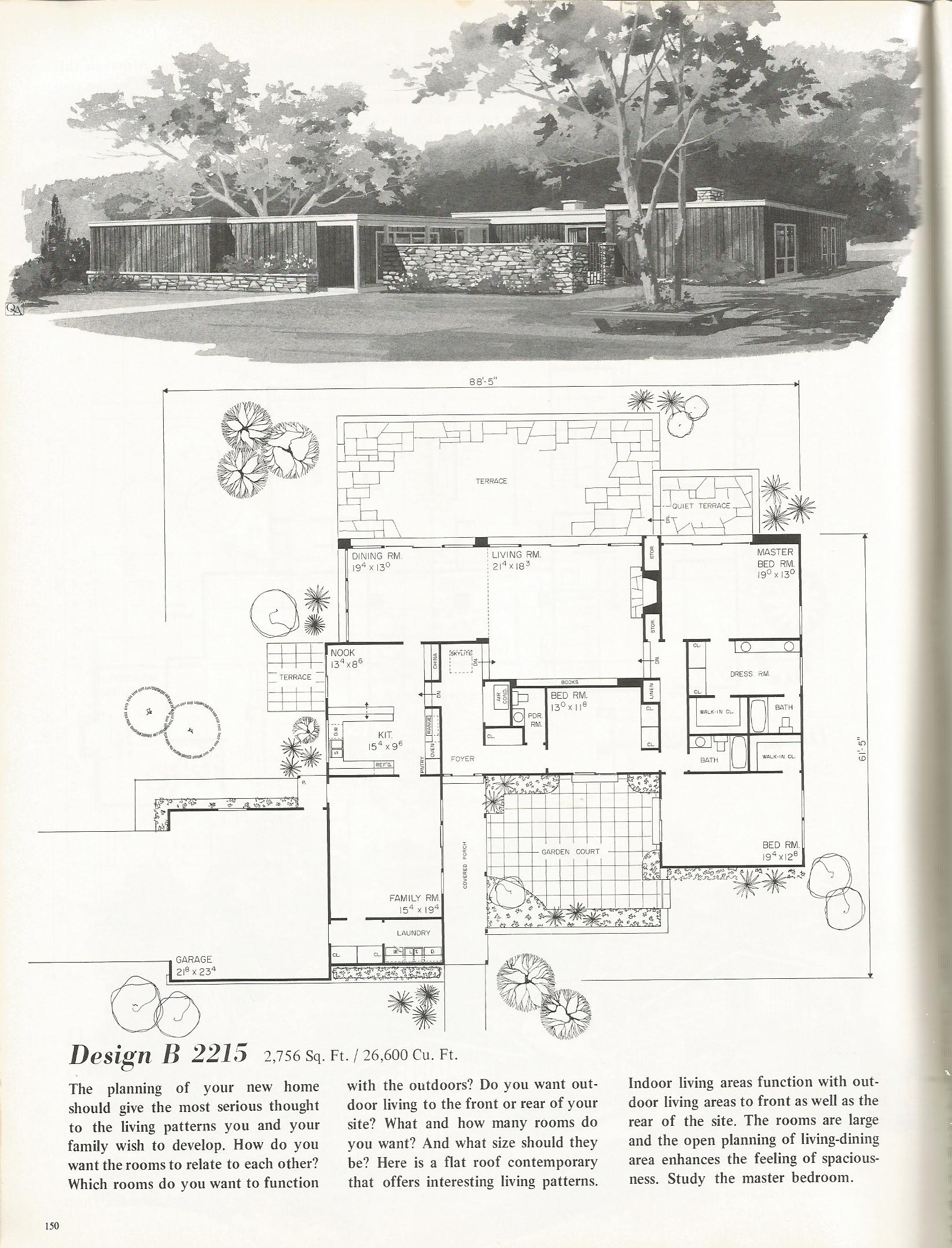 Vintage house plans 2215 antique alter ego for Retro modern house plans