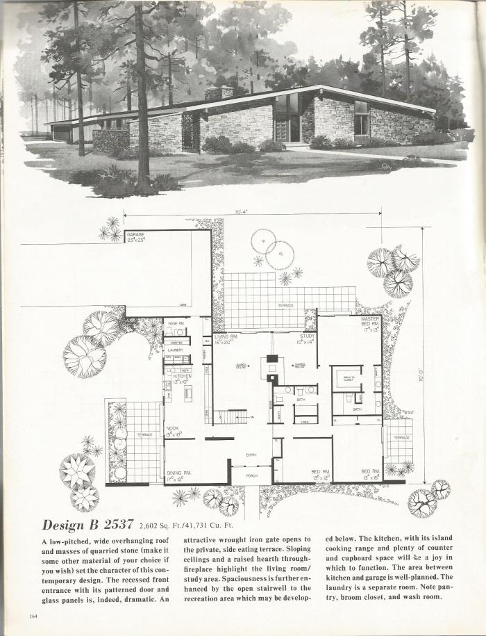 Vintage house plans distinctive mid century contemporary for Mid century modern blueprints